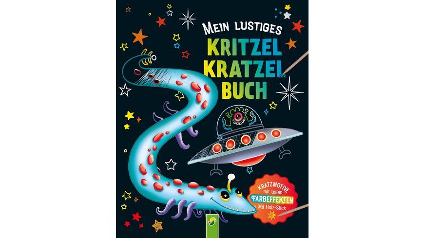 Mein lustiges Kritzel Kratzel Buch Kratzmotive mit tollen Farbeffekten Mit Holz Stick