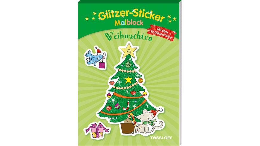Glitzer Sticker Malblock Weihnachten Mit 50 glitzernden Stickern