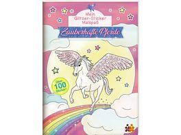Mein Glitzer Sticker Malbuch Zauberhafte Pferde