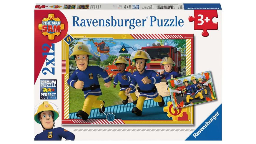 Ravensburger Puzzle - Feuerwehrmann Sam, Sam und sein Team, 2x12 Teile