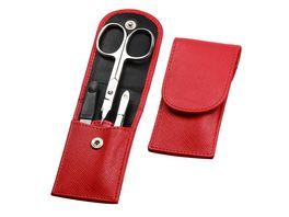 Manicure Etui Taschenmanicure 3 teilig Rindleder rot
