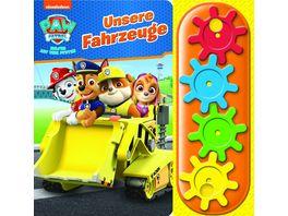 PAW Patrol Unsere Fahrzeuge Interaktives Pappbilderbuch mit 4 Zahnraedern und 5 Geraeuschen fuer Kinder ab 3 Jahren