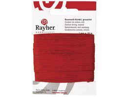 Rayher BAUMWOLLKORDEL GEWACHST ROT 1MMX20M 5169118