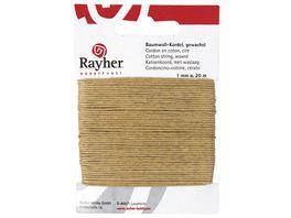 Rayher BAUMWOLLKORDEL GEWACHST NATUR 1MMX20M 5169131
