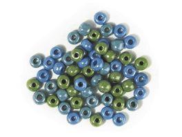 Rayher GLAS GROSSLOCHRADL OPAK 5 4MM GRUEN BLAU DOSE 55G 1441400