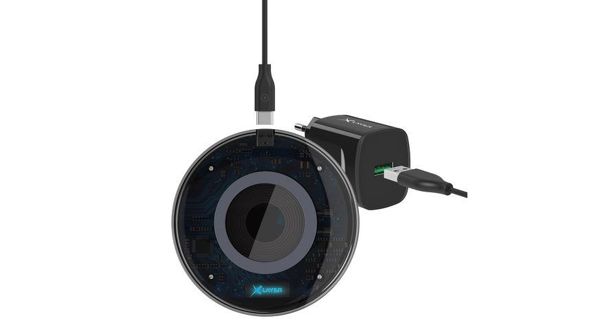 Xlayer Induktive Ladestation Wireless Charging Pad Discover 10W Qi zertifiziert inkl Ladegeraet Black