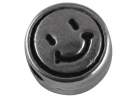 Rayher METALL PERLE SMILEY 7MM LOCH 2MM 5ST SILBER 2294822