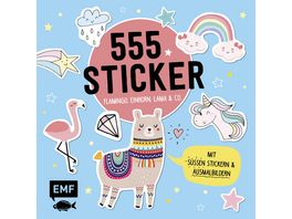 555 Sticker Flamingo Einhorn Lama und Co
