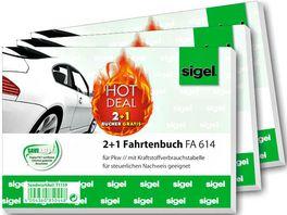 Sigel 2 1 Aktion Fahrtenbuch fuer Pkw A6 quer 40 Blatt