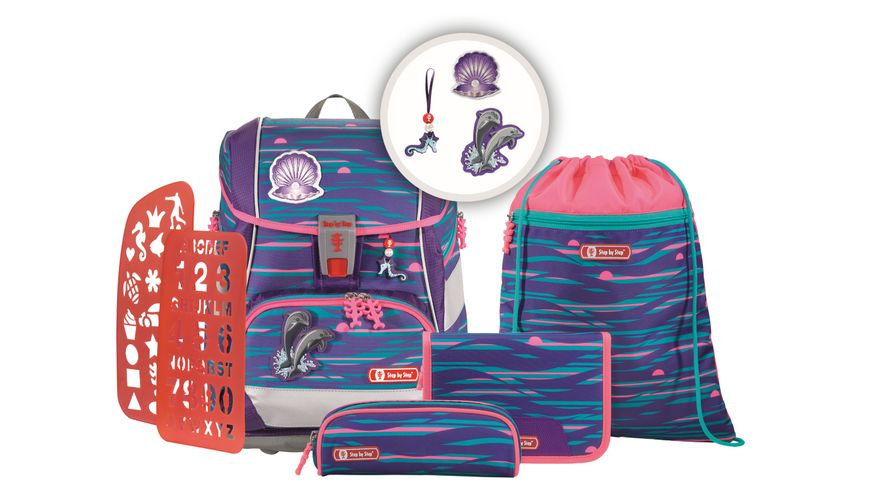 Step by Step 2IN1 PLUS Space Schulranzen Set 6teilig Shiny Dolphins