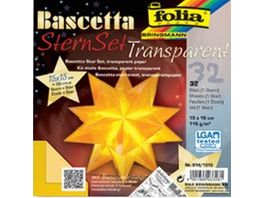 folia Bascetta Stern transparent gelb 15 x 15cm