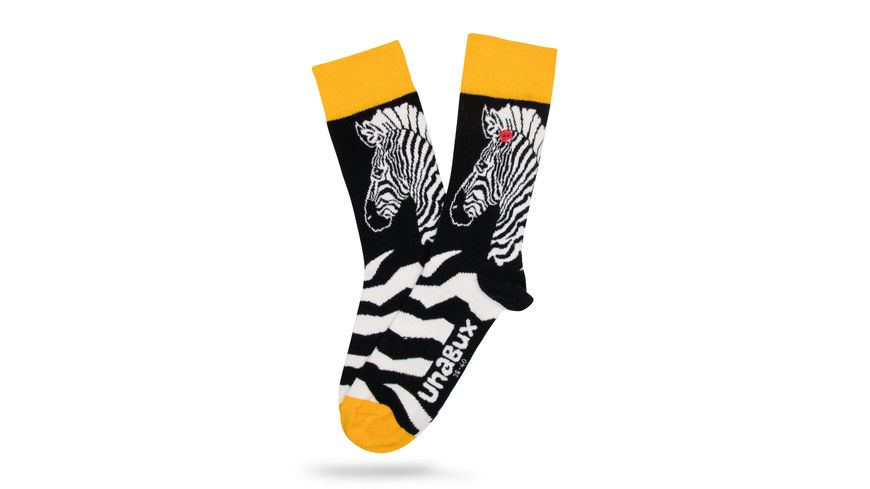 Unabux Unisex Socken Zebra