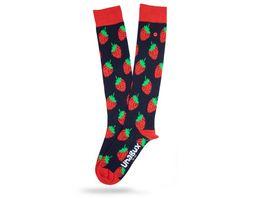 Unabux Damen Kniestrumpf Erdbeeren