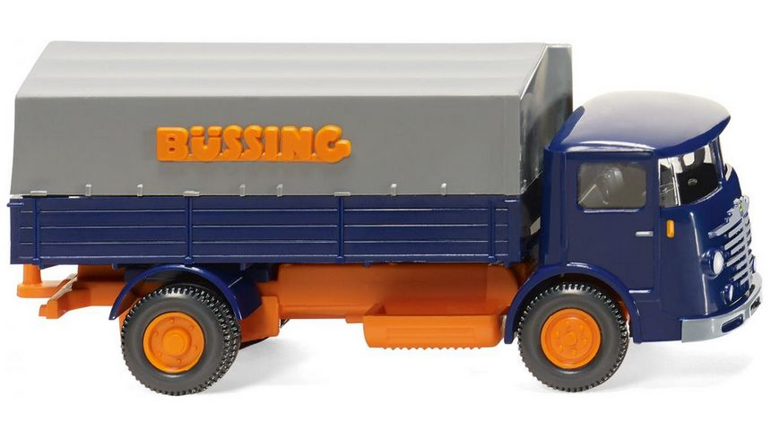 Wiking 0476 01 Pritschen Lkw Buessing 4500 blau orange 1 87