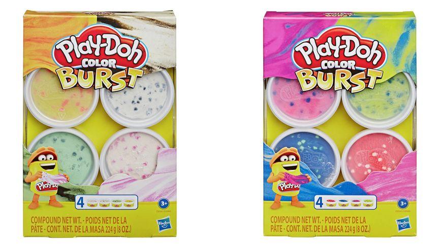 Hasbro Play Doh Color Burst Pastellfarben mit 4 Dosen a 56 g 1 Stueck sortiert