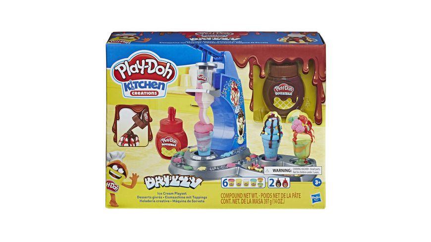 Hasbro Play Doh Drizzy Eismaschine mit Toppings inklusive Play Doh Drizzle Knete und 6 Play Doh Farben