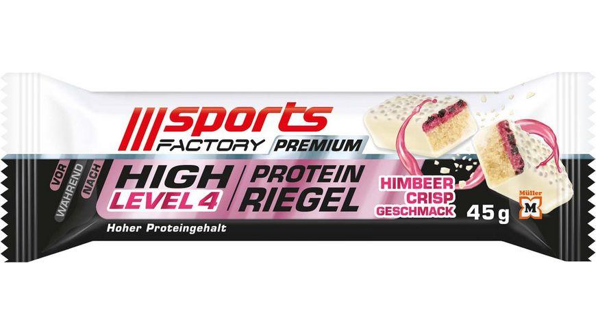 SPORTS FACTORY Proteinriegel Level 4 DLX Himbeer Crisp