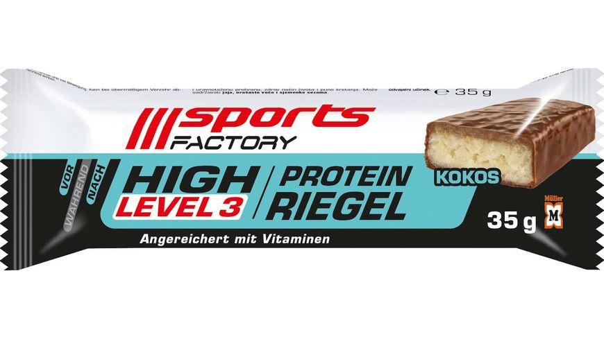 SPORTS FACTORY Proteinriegel Level 3 Kokos
