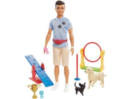 Barbie Ken Hundetrainer Spielset Puppe bruenett mit zwei Hunden Anziehpuppe