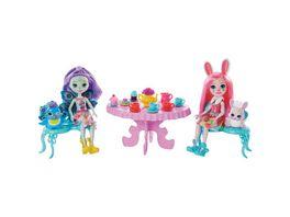 Mattel Enchantimals GLD41 Tolle Teeparty Spielset mit Bree Bunny Patter Peacock Puppen