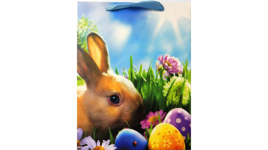 Geschenktüte Motiv Osterhase mit bunten Eiern