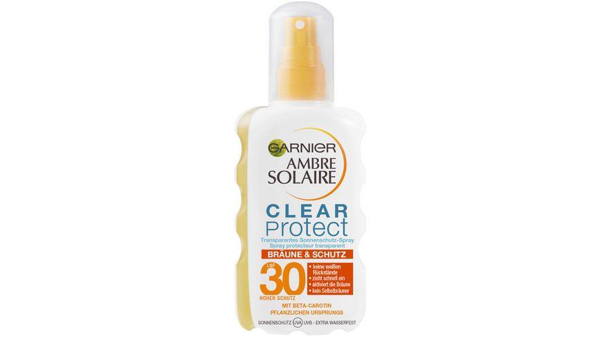 GARNIER Ambre Solaire Clear Protect Bräune & Schutz transparentes Sonnenschutz-Spray mit LSF 30