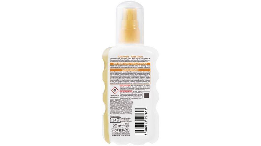 GARNIER Ambre Solaire Clear Protect Braeune Schutz transparentes Sonnenschutz Spray mit LSF 30