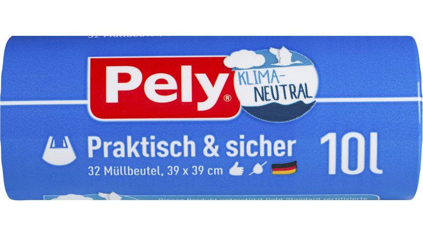 Pely® KLIMA-NEUTRAL Tragegriff-Müllbeutel – 10 Liter, 32 Stück