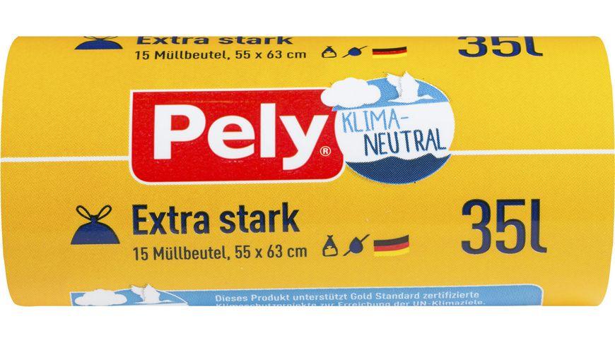 Pely® KLIMA-NEUTRAL Zugband-Beutel – Extra-stark, 35 Liter, 15 Stück