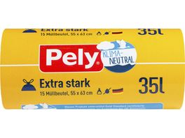 Pely KLIMA NEUTRAL Zugband Beutel Extra stark 35 Liter 15 Stueck