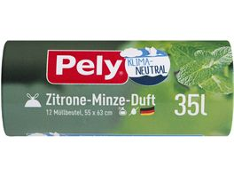 Pely KLIMA NEUTRAL Zugband Beutel Zitrone Minze Duft 35 Liter 12 Stueck