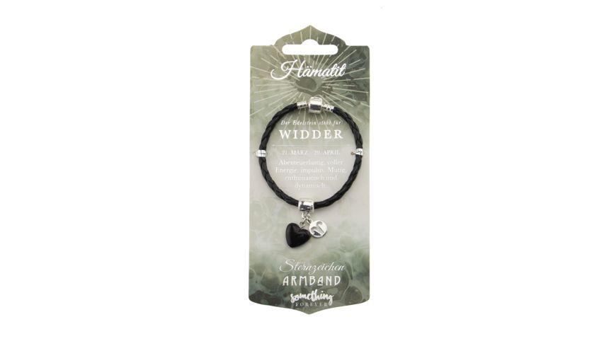 H H Edelstein Leder Armband Widder
