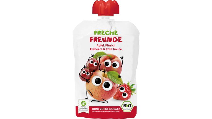 Freche Freunde Bio Quetschie Apfel, Pfirsich, Erdbeere & rote Traube
