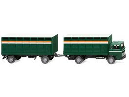 Wiking 0565 03 Viehtransporthaengerzug MB moosgruen 1 87