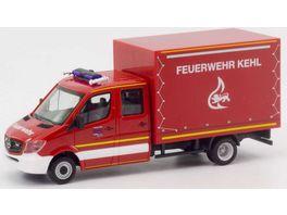 Herpa 094931 Mercedes Benz Sprinter Doppelkabine mit Plane Feuerwehr Kehl 1 87