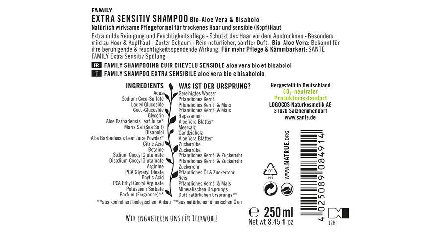 SANTE FAMILY Extra Sensitiv Shampoo Bio Aloe Vera Bisabolol