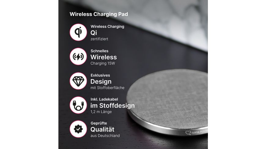 Lotta Power Ladegeraet Wireless Pad Single Qi zertifiziert Space Grey