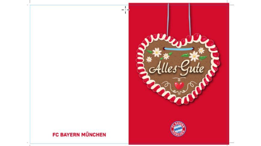 FC BAYERN MÜNCHEN SMU Glückwunschkarte Alles Gute Lebkuchen