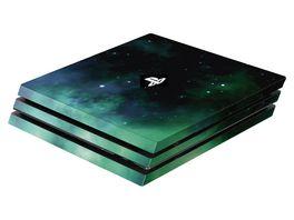 Skins Sticker fuer PS4 Pro Konsole Galaxy Green