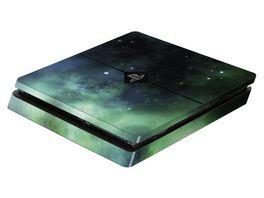 Skins Sticker fuer PS4 Slim Konsole Galaxy Green
