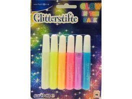 PAPERZONE Glitterstifte Glow in the dark 6 x 10ml