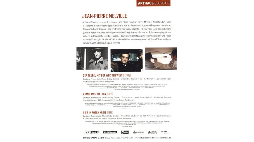 Jean Pierre Melville Arthaus Close Up 3 DVDs