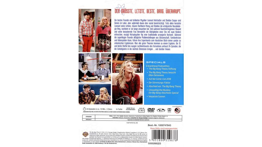The Big Bang Theory Staffel 12 3 DVDs