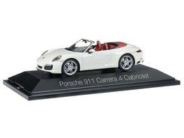 Herpa 071116 Porsche 911 Carrera 4 Cabriolet carraraweiss metallic