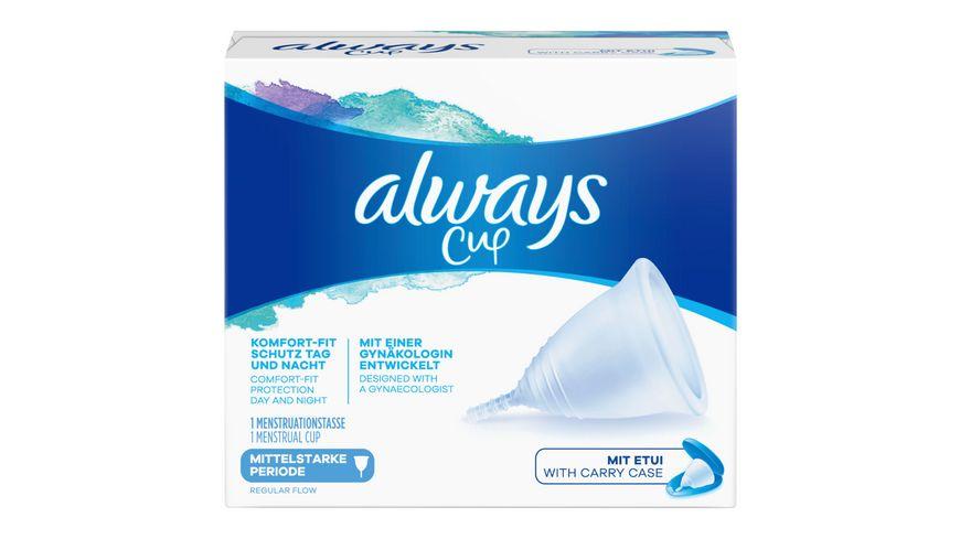Always Menstruationstasse, Menstrual Cup für mittelstarke Periode, 1 Tasse mit Etui
