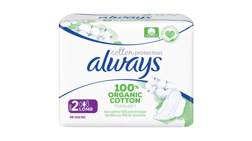 Always Ultra Cotton Protection Long Groesse 2 Binden mit Fluegeln