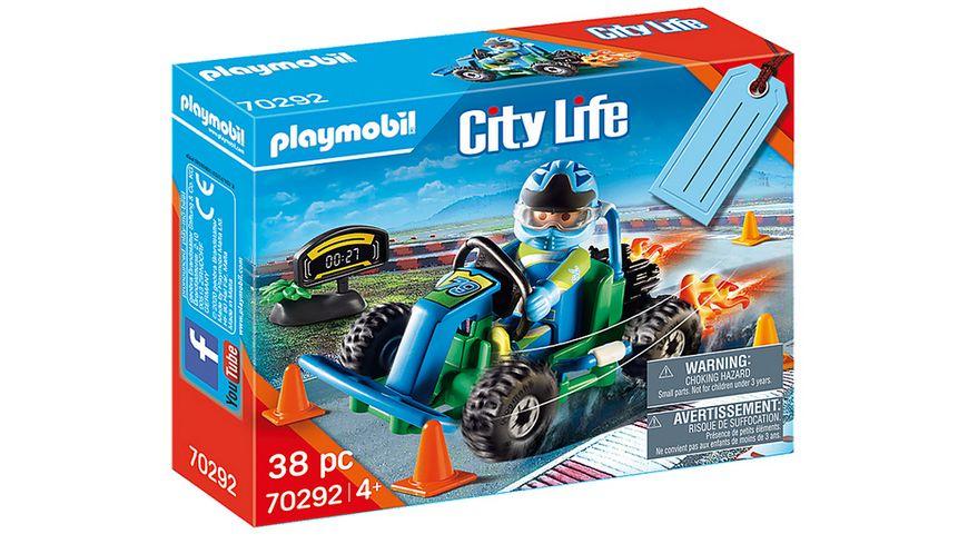PLAYMOBIL 70292 City Life Geschenkset Go Kart Rennen