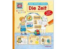 WAS IST WAS Kindergarten Malen Raetseln Stickern Die Zeit Malen Raetseln Stickern