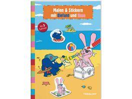Malen Stickern mit Elefant und Hase Elefantastischer Malspass fuer Kindergartenkinder