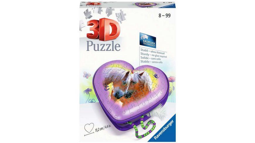 Ravensburger Puzzle - 3D Puzzle-Organizer - 3D Puzzle Herzschatulle Pferde